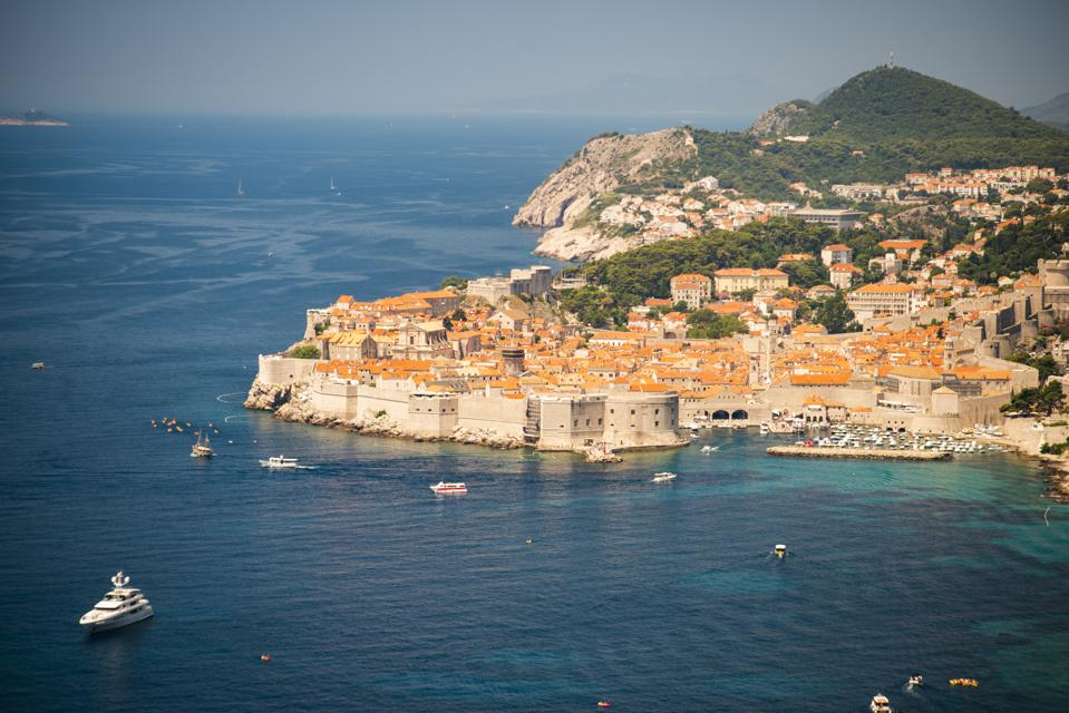 View of Dubrovnik with yachts in bay