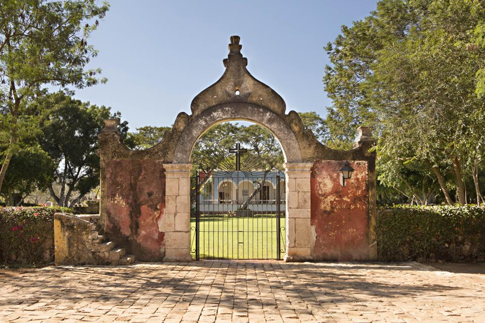 A centerpiece of Chablé resort in the Yucatan, Mexico, is a beautiful, weathered gate.