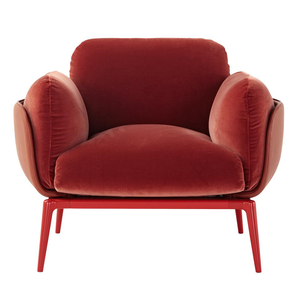 A red comfortable chair.