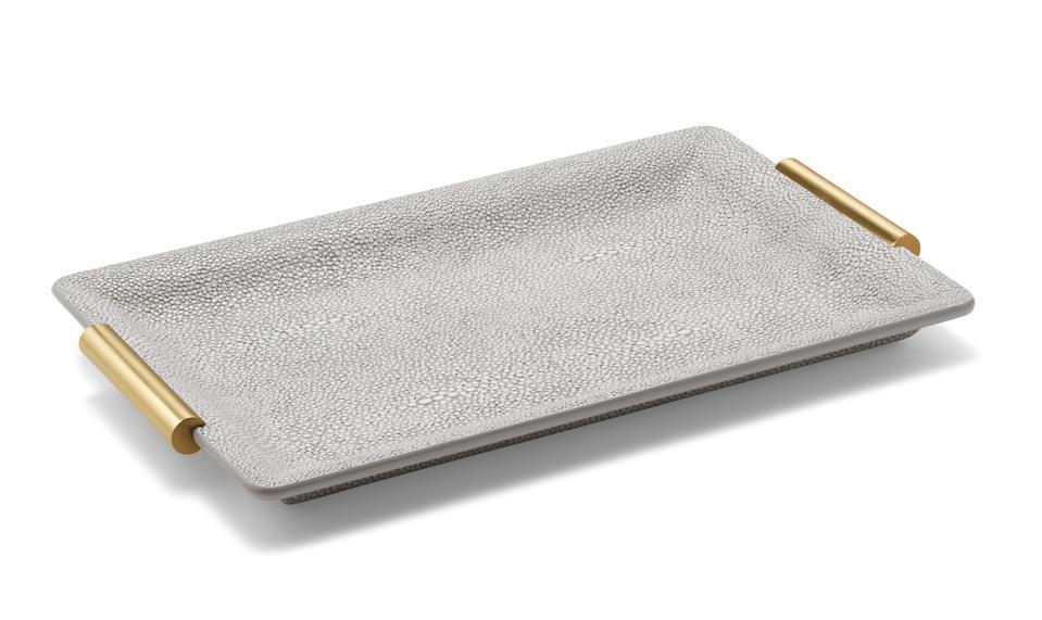 A shagreen vanity tray.