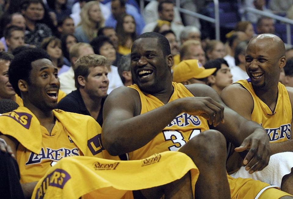 Kobe Bryant (L), Shaquille O'Neal (C) and Brian Sh