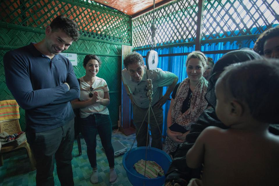 Congressman Andy Levin visits a UNICEF-supported malnutrition treatment center in Cox's Bazaar