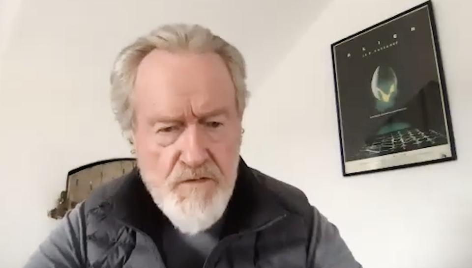 Bladerunner director Ridley Scott seated on Zoom with Alien poster in the background