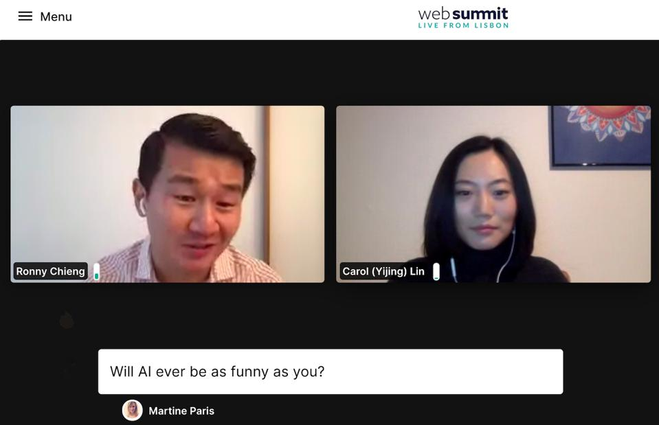 Zoom with Daily Show Ronnie Chieng and Web Summit correspondent during Q&A session