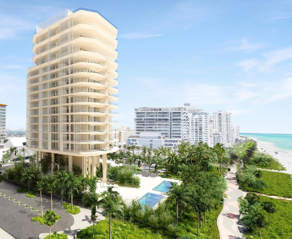 A proposed design for Aman Miami Beach Residences by Kengo Kuma