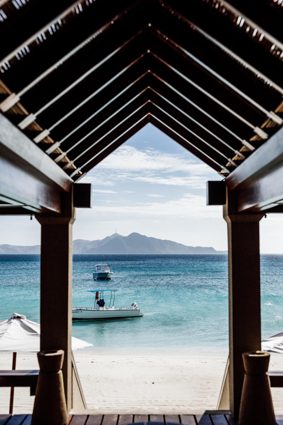 View from the beach bar at Amanpulo in Philippines