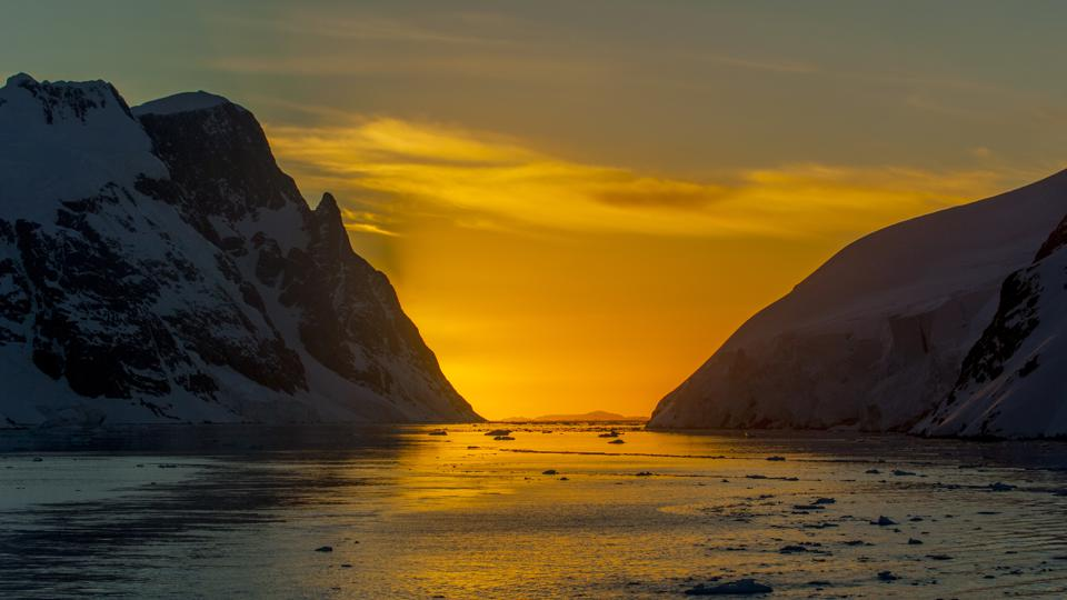 View of the Lemaire Channel, Antarctic Peninsula in the...