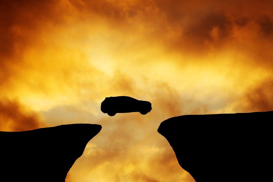 Car silhouette jumping