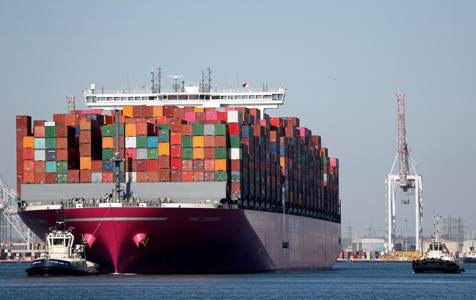 A Japanese container ship departs Southampton port.