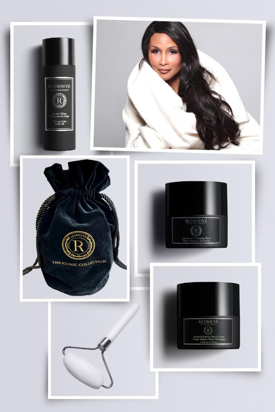Glow like a supermodel with the Beverly Johnson Iconic Collection, featuring four of Ms. Johnson's all-time favorite Retrouvé formulations in a keepsake velvet drawstring bag.
