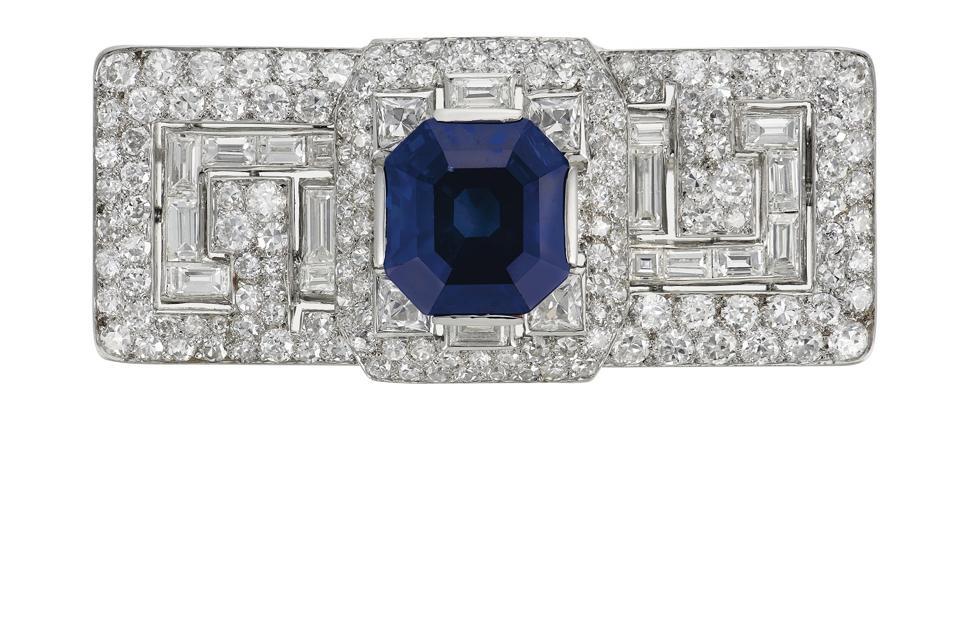 12.64-carat Art Deco Kashmir sapphire and diamond brooch by Cartier
