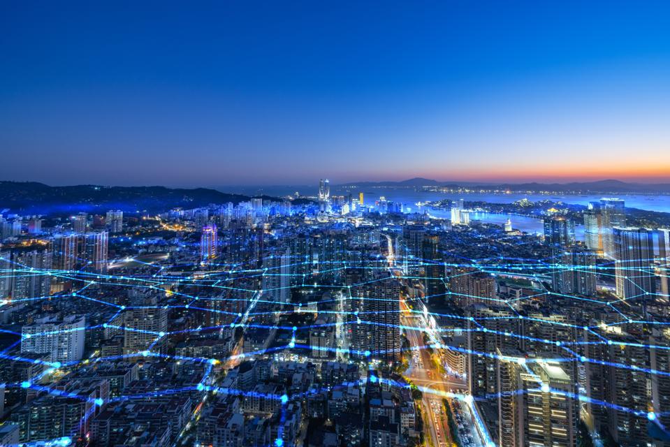 藍色網格線的城市天際線