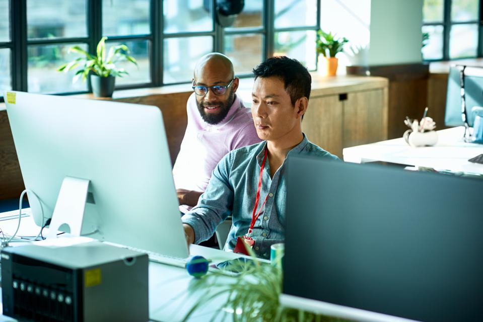 Computer programmer working with male colleague in office