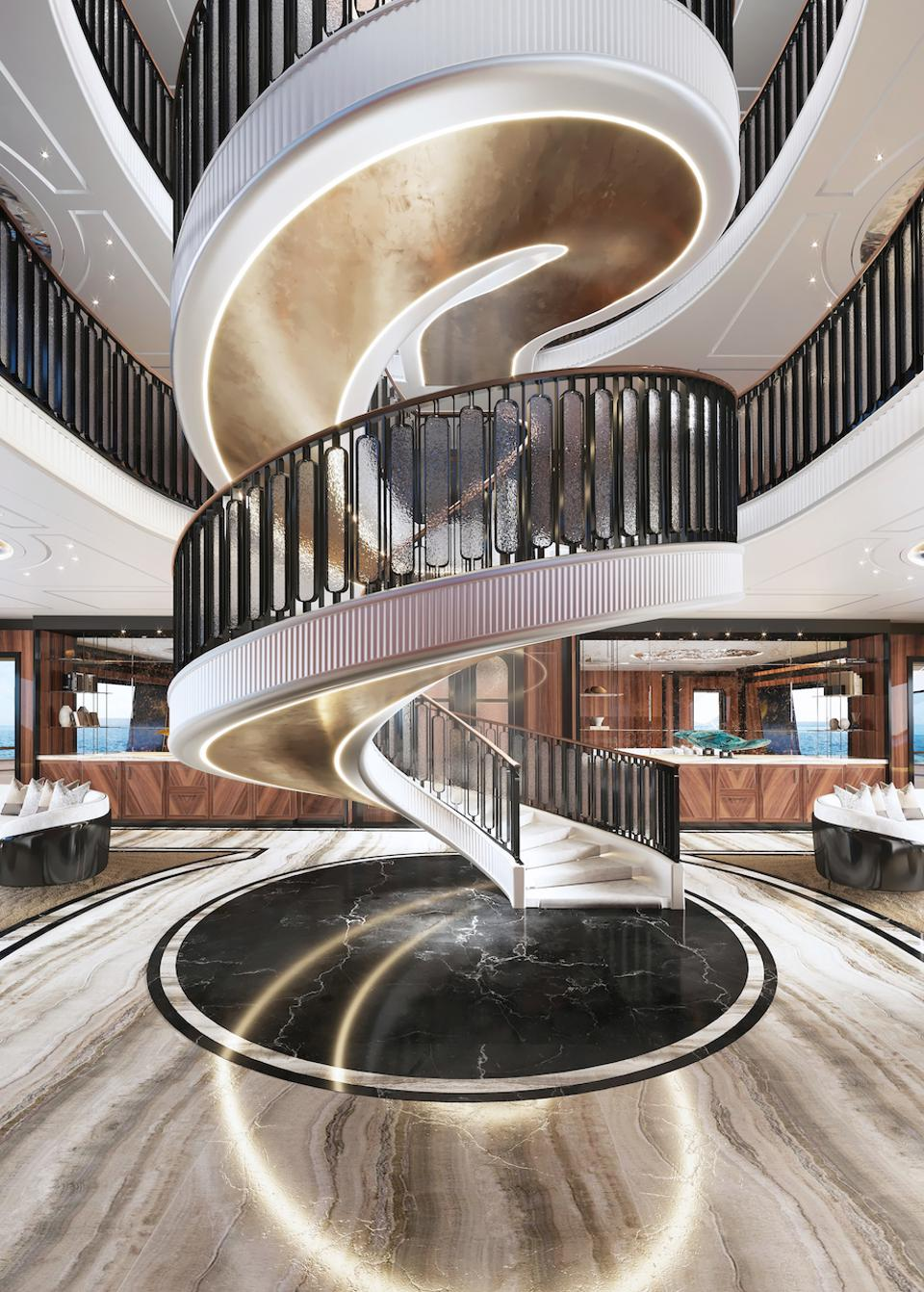Ultra2 by T. Fotiadis Design features this amazing spiral staircase between decks