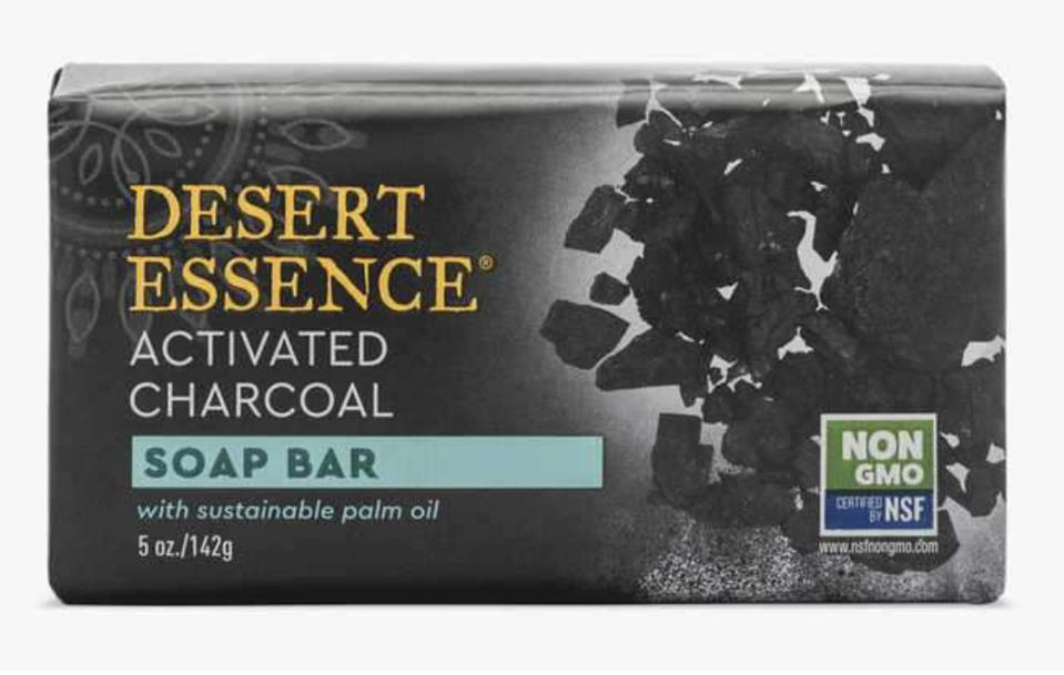 Desert Essence Activated Charcoal Soap Bar against a plain white backdrop.