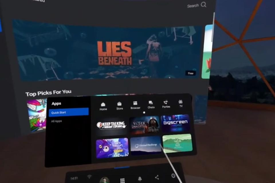 Oculus Quest 2 home screen