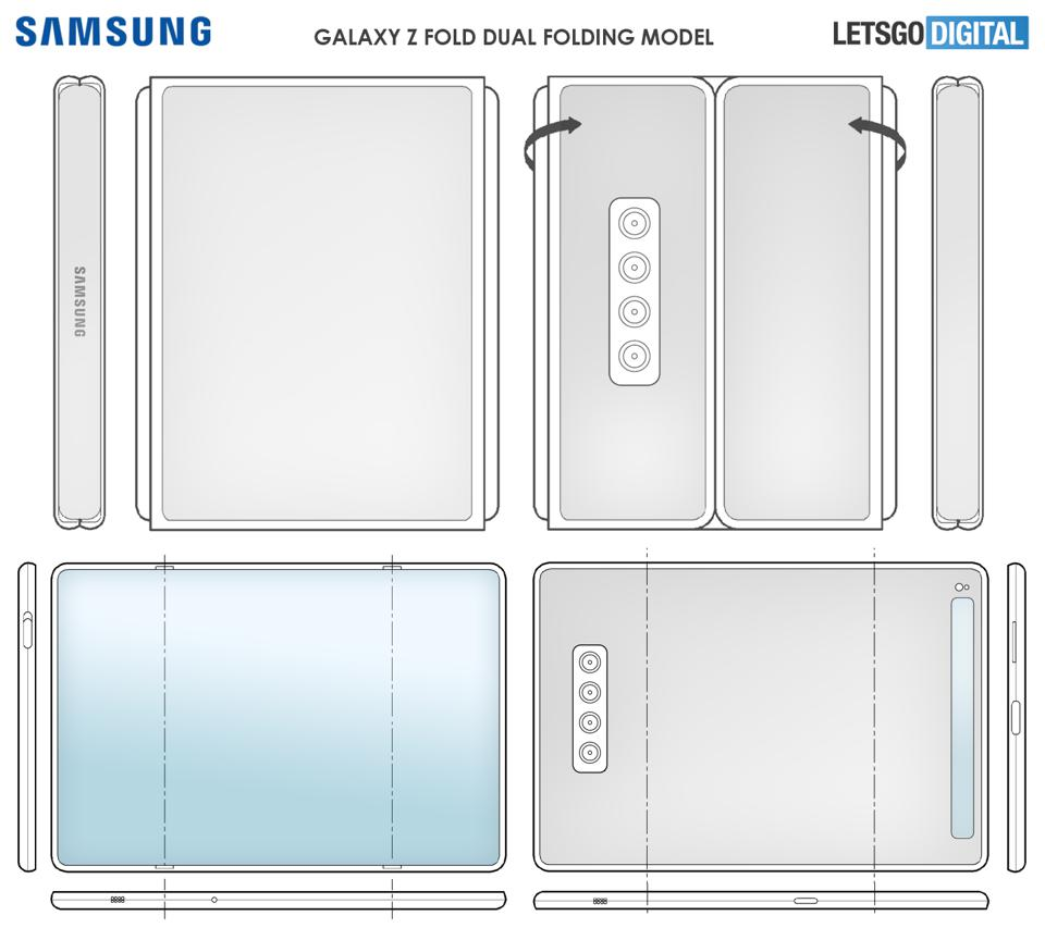 Tri-fold Galaxy Z Fold concept schematic