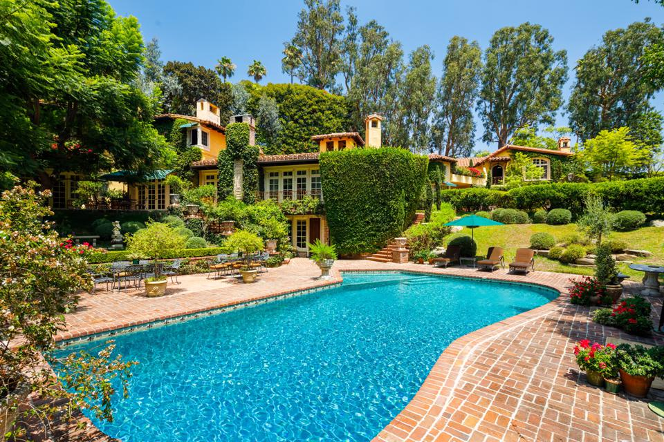 The backyard of a Beverly Hills estate.