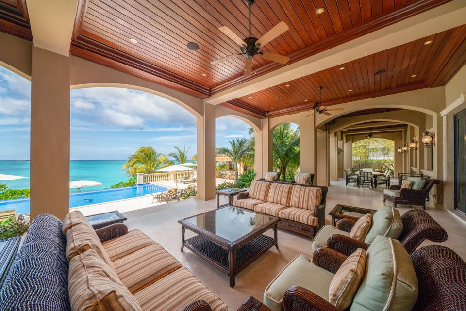 Patio with view of waterfront