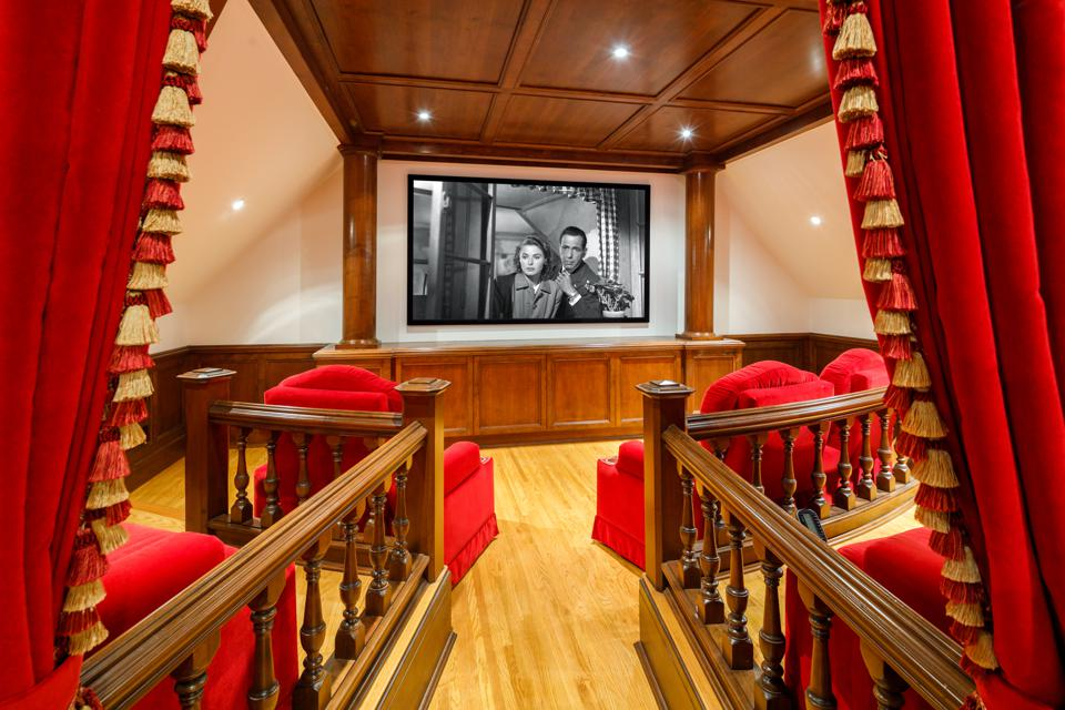 The movie theater in a luxury home.