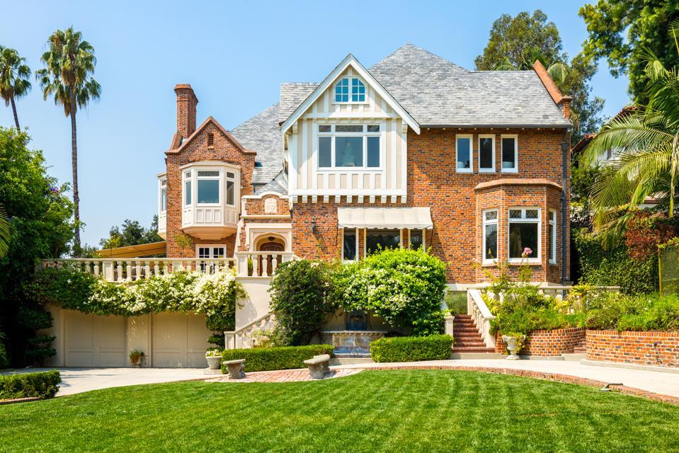 A brick mansion in Los Angeles.
