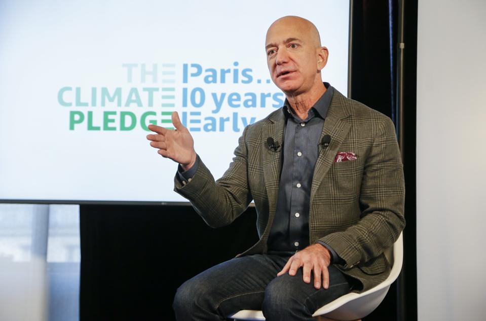Sep 19 2019: Amazon CEO Jeff Bezos announces  the founding of Amazon's Climate Pledge at the National Press Club on September 19, 2019 in Washington, DC.