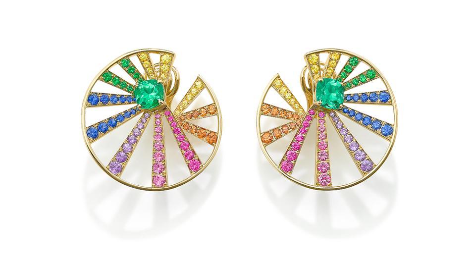 Stralle earringsby Robinson Pelham in18k yellow gold, Muzo emerald, yellow sapphire, orange sapphire, pink sapphire, blue sapphire, purple sapphire and tsavorite garnet. $38,940