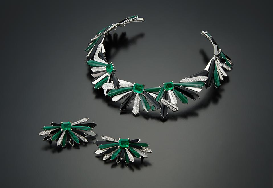 Penacho earrings and necklace by Colette in 18k white gold, with Muzo emeralds, onyx, malachite and diamonds. Earrings $52,000, Necklace $110,000.