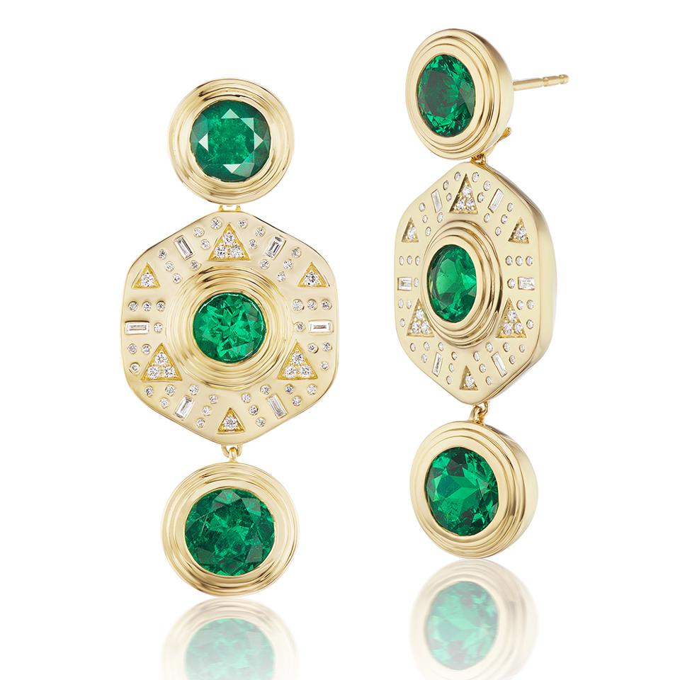 Emerald and gold drop earrings by Harwell Godfrey, in 18k yellow gold, Muzo round emeralds and diamonds. $99,950