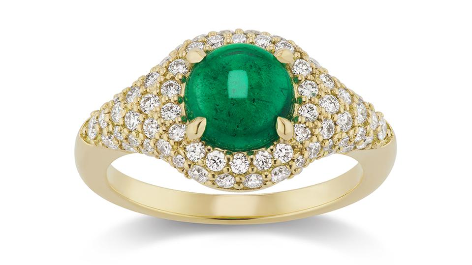 Round cabochon emerald and gold ring by Michelle Fantaci, in 18k yellow gold, Muzo emerald and diamonds. $6,745