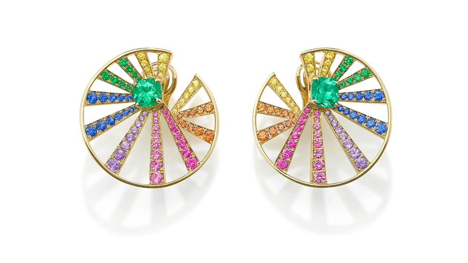 Stralle earrings by Robinson Pelham in18k yellow gold, Muzo emerald, yellow sapphire, orange sapphire, pink sapphire, blue sapphire, purple sapphire and tsavorite garnet. $38,940