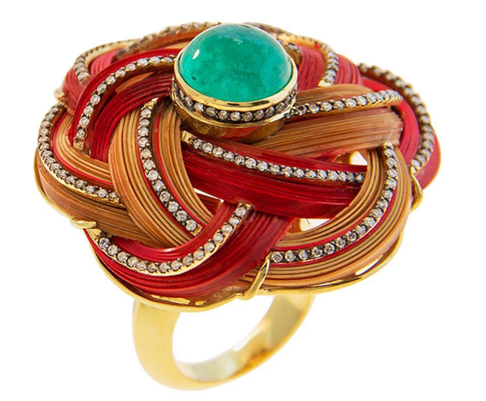 Bamboo ring by Silvia Furmanovich in18k yellow gold, Muzo emeralds and light brown diamonds. $11,440