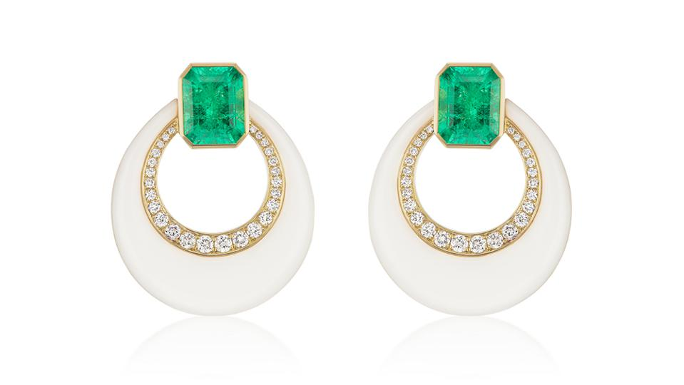 Carved onyx earrings by Sorellina in 18k yellow gold, Muzo emeralds and diamonds.  $9,900