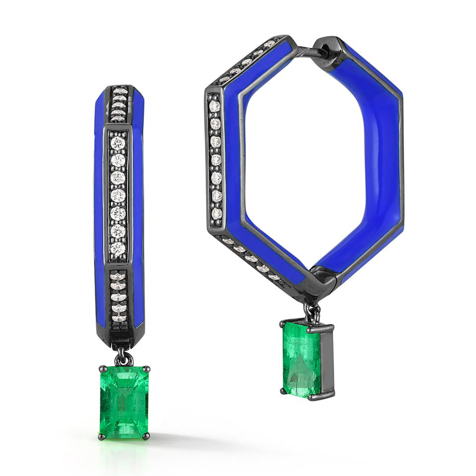 Limited edition drop earrings by Katherine Jetter, in 18k white gold, Muzo emeralds and diamonds. $8,460
