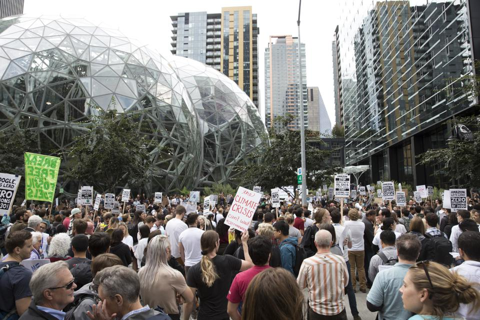 Amazon Employees for Climate Justice lead a walk out and rally at the company's headquarters to demand that leaders take action on climate change in Seattle, Washington on September 20, 2019.