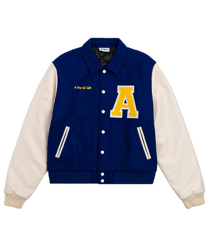 The Alife Varsity Jacket is a wool-bodied, polyester lined and filled jacket with faux leather sleeves. The jacket features a gold chenille 'A' Logo over the heart, and ″A Way of Life″ chain-stitch embroidery on the right chest.