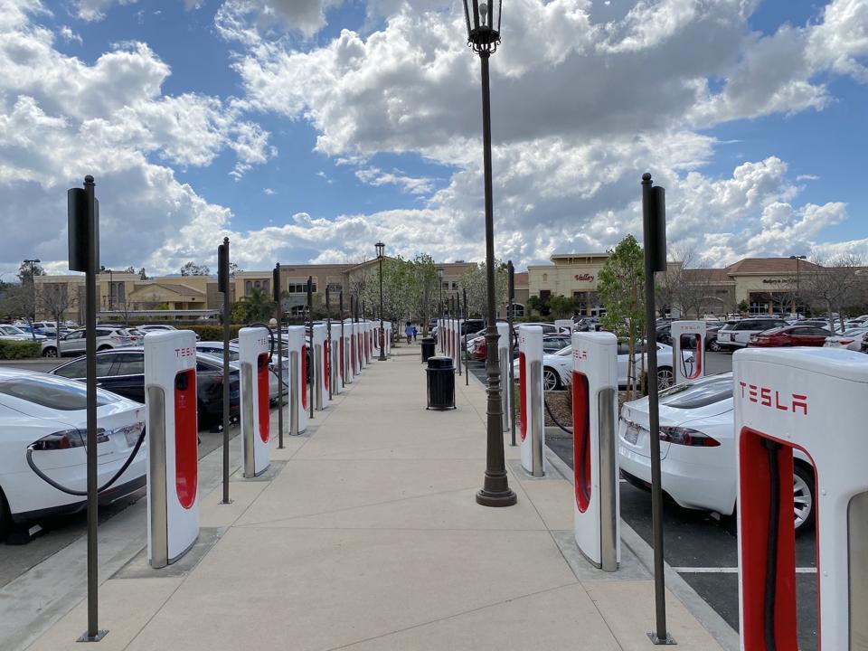 Tesla Supercharger station in Santa Clarita, Calif.