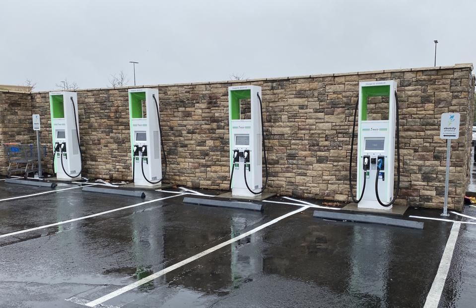 A recently added Electrify America charging station in Santa Clarita, Calif.