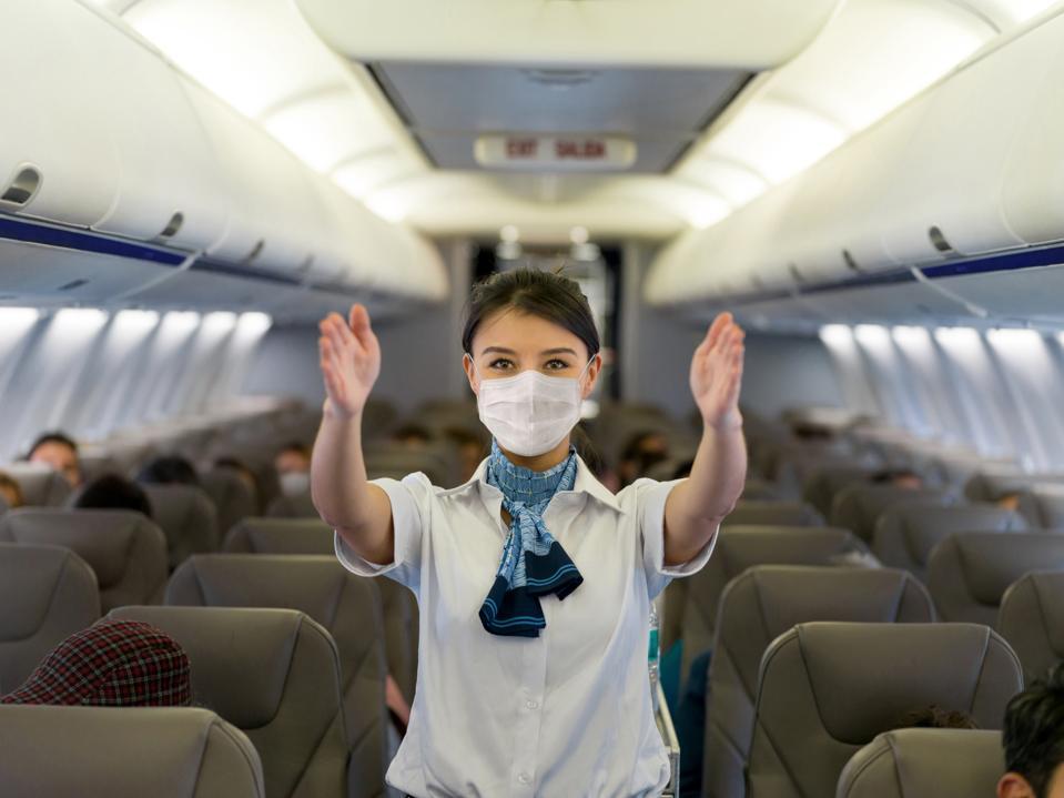 Flight attendant Covid face mask