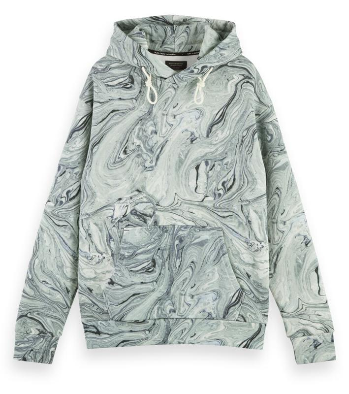 An eye-catching marbled fabric combines with printed artwork to bring to life this on-trend hoodie for men. Cut with a regular fit and traditional kangaroo front pockets.