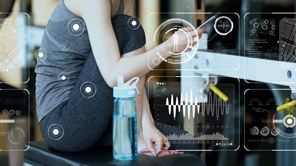 Vital sign sensing concept. Internet of Things. Health tech. Sports tech.