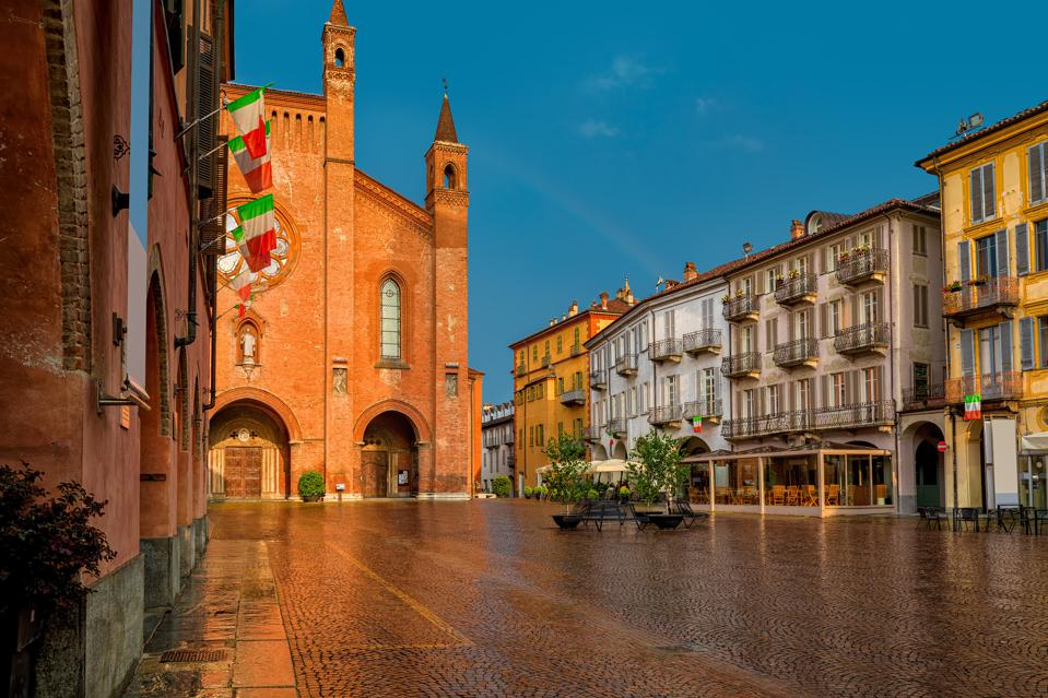 San Lorenzo cathedral on central town square in Alba, Northern Italy; Piedmont