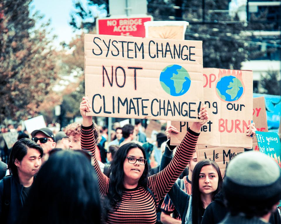 Climate strikers took to the streets in Vancouver on Sep. 27, 2019, as part of a global climate strike.