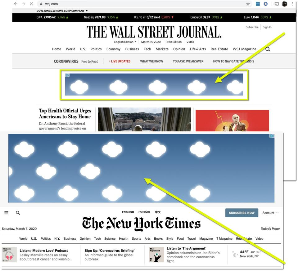 Screen Shots of nytimes wsj homepages
