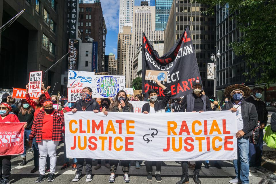 20 Sep 2020: Climate activists calling for climate and racial justice to be addressed together.