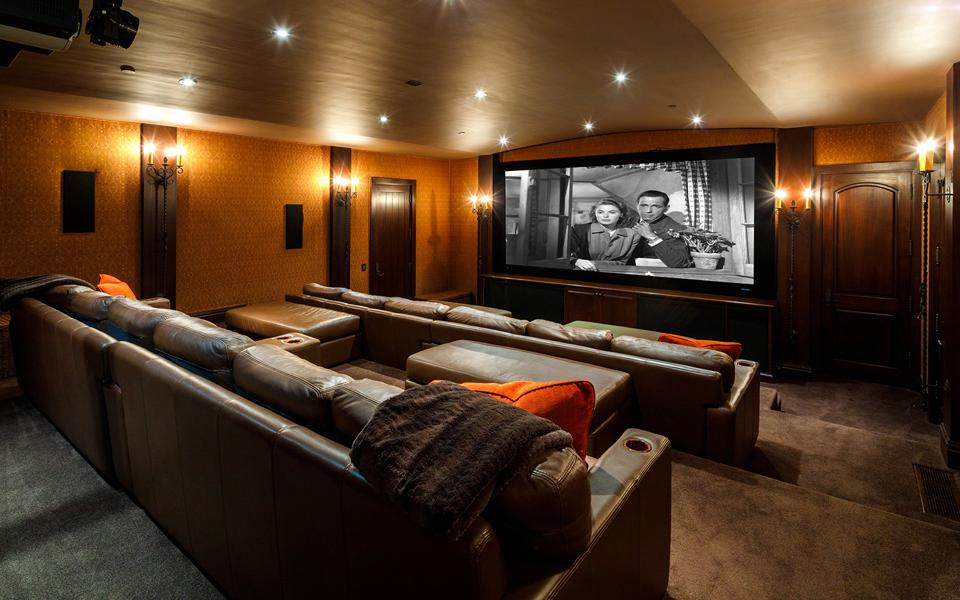 The home theater in a luxury home.