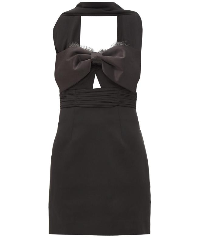 Tailored Crepe Bow Mini Dress by Self Portrait