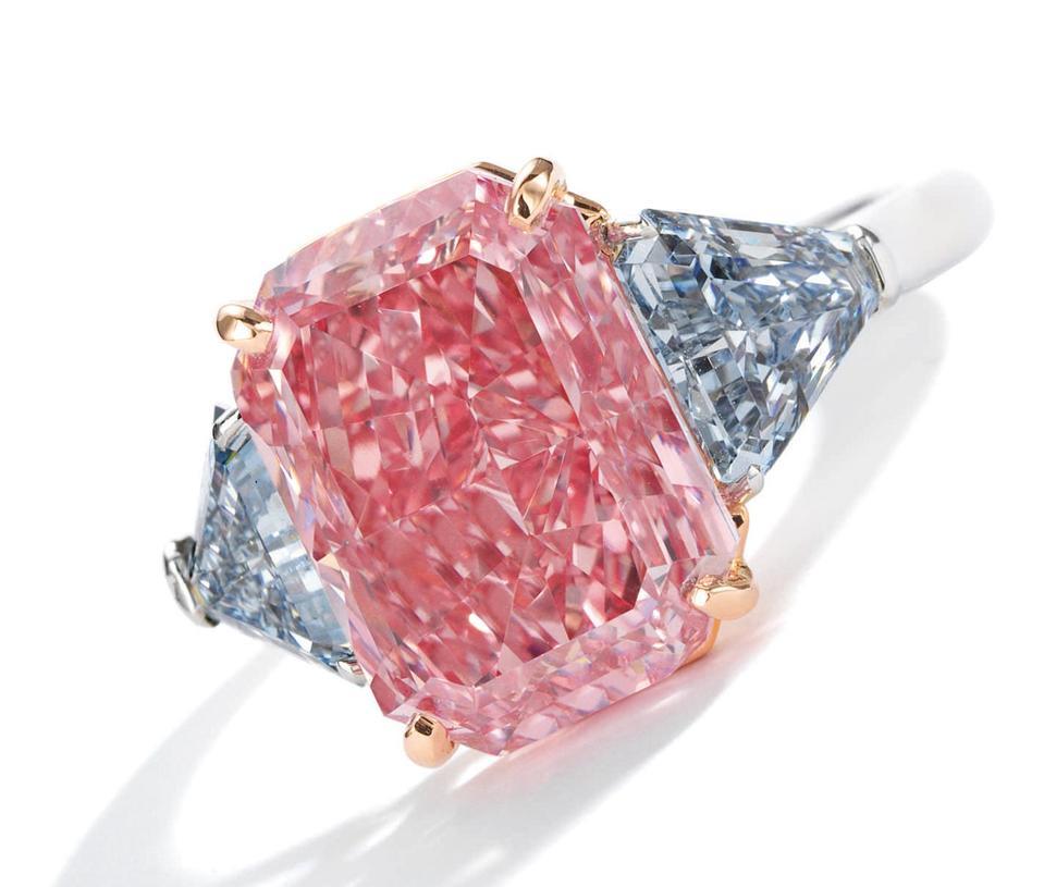 5.03-carat cut-cornered rectangular mixed-cut fancy vivid pink diamond