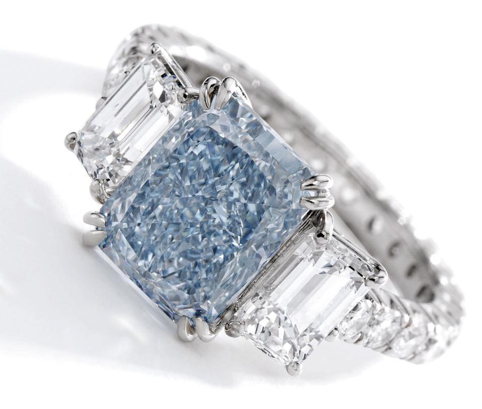3.67-carat fancy intense blue diamond in a cut-cornered rectangular modified brilliant-cut