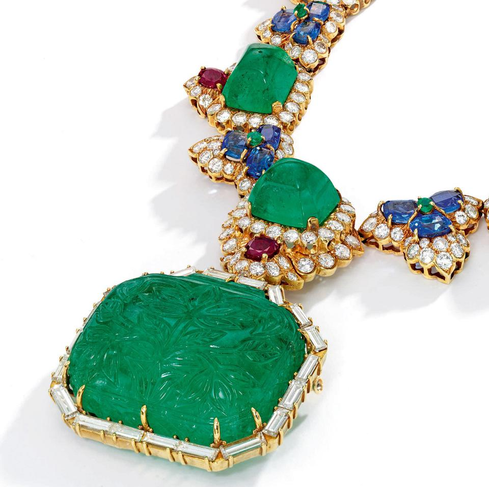 Emerald, ruby, sapphire and diamond Mughal-inspired necklace by David Webb